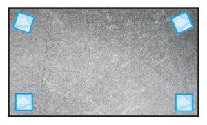Alignement butées adhésives rectangulaires